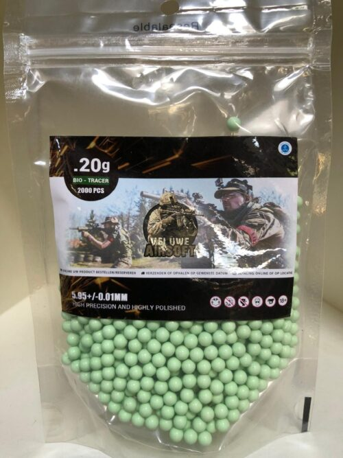 Plastic Bag - Veluwe Airsoft - GREEN TRACER BIO 0.20 BB - 1000pcs -0