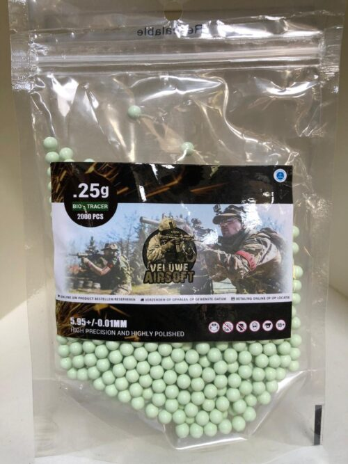 Plastic Bag - Veluwe Airsoft - GREEN TRACER BIO 0.25 BB - 1000pcs -0