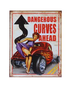 METALEN PLAAT GROOT 55. DANGEROUS CURVES AHEAD-0