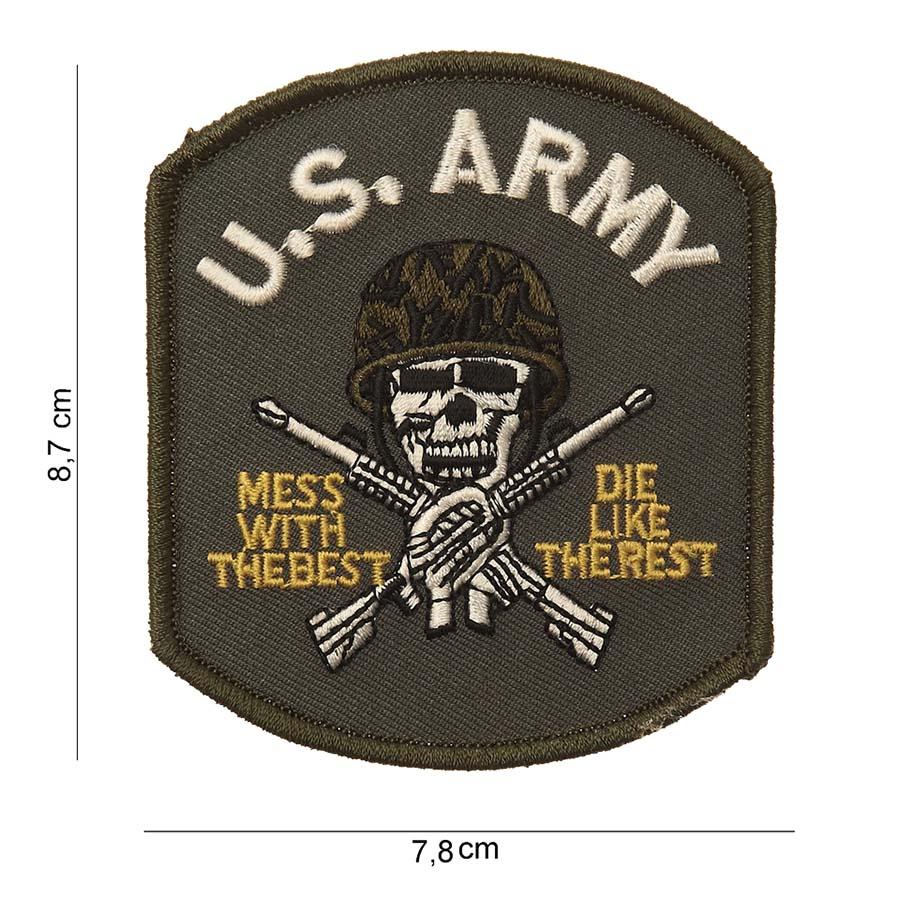 EMBLEEM STOF US ARMY (DOODSKOP) MET KLITTEBAND-0