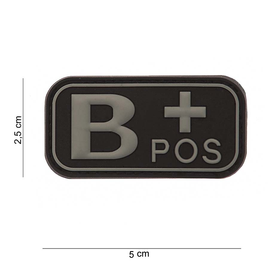 3D PVC bloedgroep B+ positief zwart-0