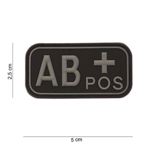 Embleem 3D PVC bloedgroep AB+ positief zwart-0