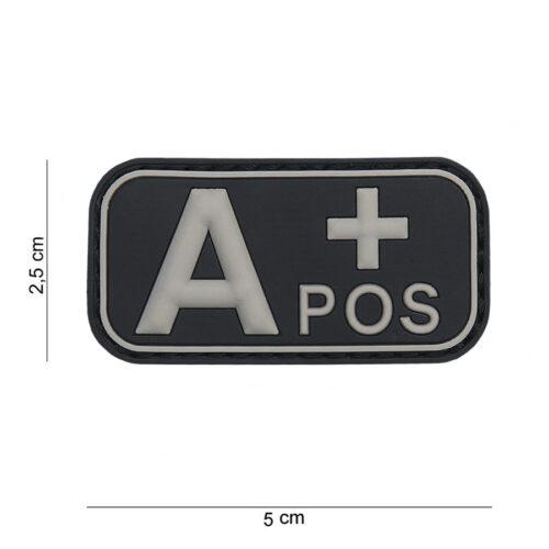 Embleem 3D PVC bloedgroep A+ positief zwart-0