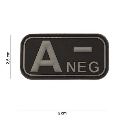 Embleem 3D PVC bloedgroep A- negatief zwart-0