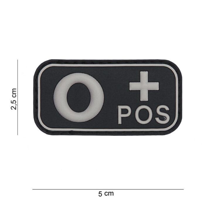 Embleem 3D PVC bloedgroep O+ positief zwart-0