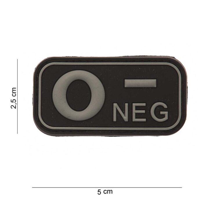 Embleem 3D PVC bloedgroep O- negatief zwart-0