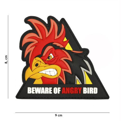 Embleem 3D PVC beware of angry bird driehoek-0