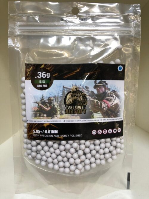 Plastic Bag - Veluwe Airsoft - BIO 0.36 BB - 1000pcs -0
